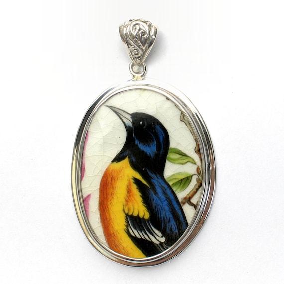 Broken China Jewelry Royal Cauldon Oriole Bird Sterling Large Oval Pendant