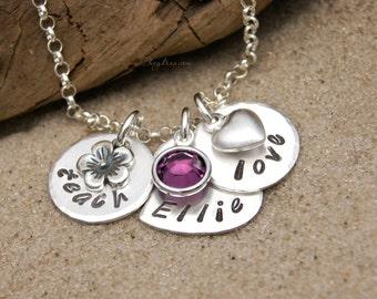 TEACHER Bracelet, NAME Bracelet, Birthstone Jewelry, Teacher's Charm Bracelet, Gift for Teacher, Fine Silver Bracelet by Cheydrea