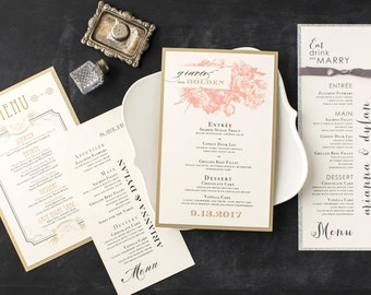 Modern Wedding Menu Cards, Customizable Colors, Wording, Fonts, Materials From Beacon Lane - Stationery Deposit