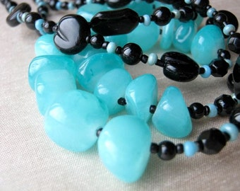 Turquoise blue and black necklace & earrings set - ADJUSTABLE, double-strand