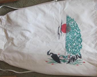 "vtg wrap skirt white w/ egret sun scene, by paddle & saddle sz sm 25"" w"