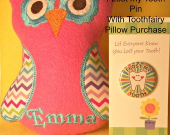 Personalized Tooth Fairy Pillow, Owl, Embroidered and Stuffed