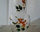 Vintage Bedside Carafe Hand painted Japan water jug matching glass 1940s