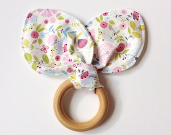 Wooden Baby Teether with Rabbit Ears. Eco-Friendly Teether.