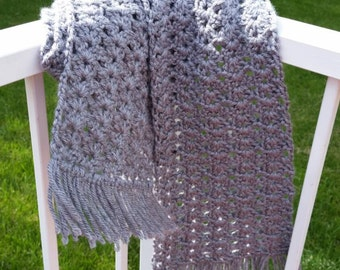 Gray Crocheted Scarf