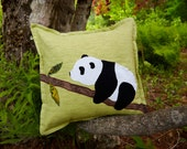 "Panda Pillow - 14"" Throw Pillow - Pale Green Linen Background - Bamboo"
