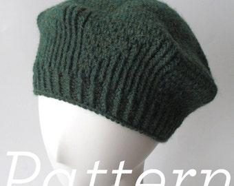 Knit Hat Pattern – Twirling Twill Beret –Pattern PDF - Instant Download - Adult One Size