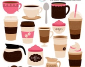 Coffee Clipart Set - clip art set of coffee, espresso, coffee break, cups, latte - personal use, small commercial use, instant download