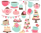 Afternoon Tea Clipart Set - clip art set, vintage tea party, cakes, teapot, macarons - personal use, small commercial use, instant download