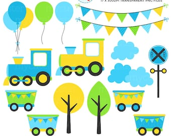 Boy's Train Clipart Set - clip art set of trains, carriages, track, party, bunting - personal use, small commercial use, instant download