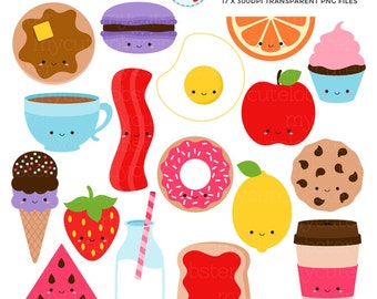 Cute Foods Clipart Set - clip art set of kawaii food, egg, bacon, ice cream, cake - personal use, small commercial use, instant download