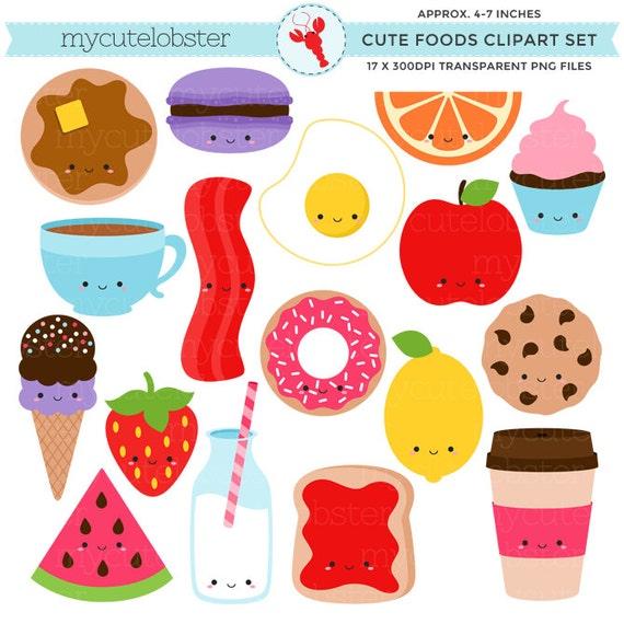Cute Foods Clipart Set clip art set of kawaii food egg