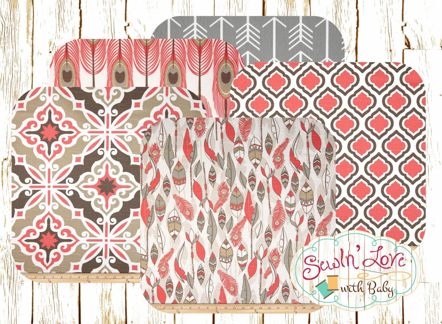 pink and grey feather peacock curtains by sewinlovewithbaby. Black Bedroom Furniture Sets. Home Design Ideas
