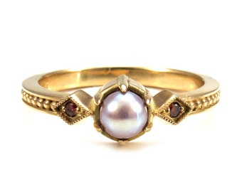 pearl engagement ring mauve freshwater pearl set in 18k yellow gold with cognac diamonds - Medieval Wedding Rings