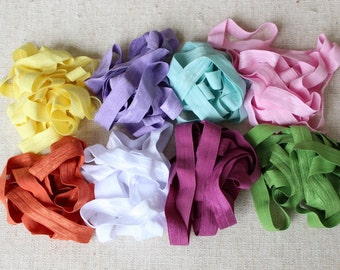 Fold over elastic 8   colors 2 yards of each color