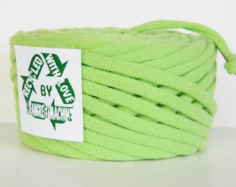 Recycled T-Shirt Yarn Lime Green 35 Yards , T Shirt Yarn, Bulky Crafting Cord