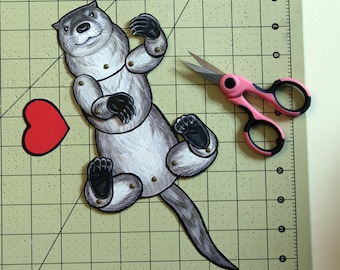 DIY Mother's Day Articulated Otter Card Paper Doll - Instant Printable Download