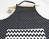 Plus Size Black and White Dots and Chevron Apron