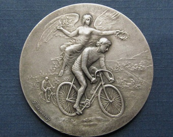 Antique French Angel Of Victory Cyclist 950 Sterling Silver Art Nouveau Medal By Felix Rasumny  SS88