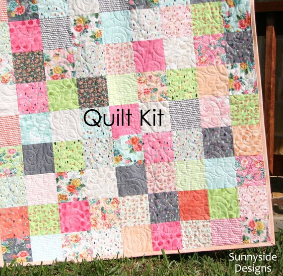 Fresh cut quilt kit basic grey moda fabrics precut squares peach pink coral yellow flowers - Do it yourself moda ...