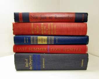 Red & Blue Book Stack: Set of 5 Vintage Books for Reading, Props, or Decorating