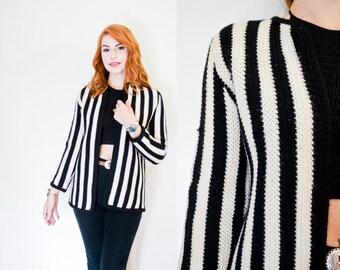Vintage 1960s Sweater  Wool Knit Black & White Striped Cardigan 60s - Medium / Small