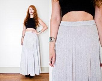 Vintage 1970s Skirt - Silver Lame Pleated High Waisted Maxi Skirt 70s - Medium