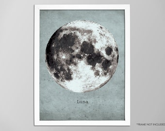 Giant Moon Poster, Outer Space Art Print, Galaxy Nebula Star Super Moon Print, Wall Art, Home Decor, Moon Poster, Moon Print, Moon Art Print