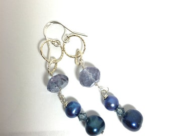 Blue Quartz, blue pearl, Silver Earrings, Lilyb444, Something Blue, Gifts for her,