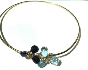 Sky blue Topaz, Blue Sapphire, 14KGold Bangle, Gifts for Her