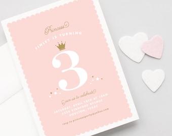 Princess Crown Birthday Invitations - Little Princess Girls Birthday Party Invitation - Princess Party Invitation
