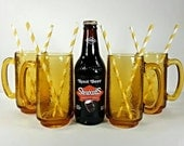 1970's Amber Glass Root Beer Mugs -  Vintage 70s Set of 4 VTG