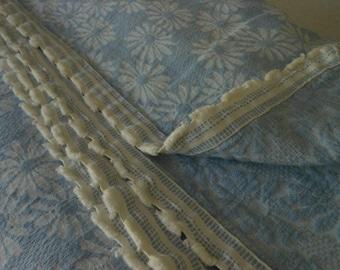 Bedspread Coverlet Woven Cotton Jacquard Blue Daisies