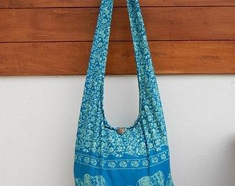 Hippie Hobo Cotton Sling Crossbody Bag Messenger Purse Elephant Floral Large in Blue Teal EL3