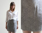 1990's Vintage Paisley Navy and White Professional High-Waisted Work Skirt Size 4