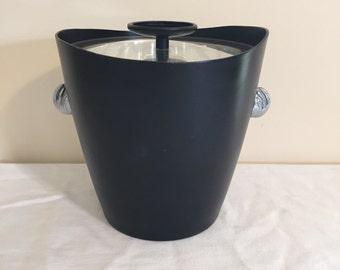 Ice Bucket Black Mid Century Ice Bucket and Tongs