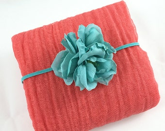 Coral Pink Cheesecloth Wrap with Turquoise Flower Headband for Newborn Baby Girl Photo Session, Baby Shower Gift