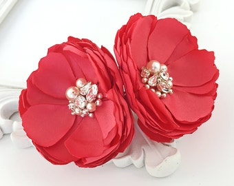 Guava Pink Hair Accessories - Hair, Shoe Clips, Brooch for a Bride, Bridesmaid, Gift for a Friend - Special Event Photo Prop - Kia