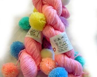 Baby Yarn: Hypoallergenic Pom Pon funny children yarn with 8 pom pons. Yarn Paliacho (color pink1).