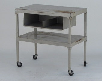 Vintage Industrial Rolling Cart, Commercial Grade Shop Cart for tools or office. Antique Steel Furniture.