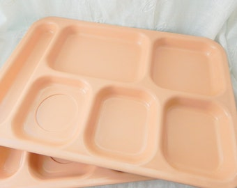 2 School Lunch Trays, Light Pink School Lunch Serving Trays