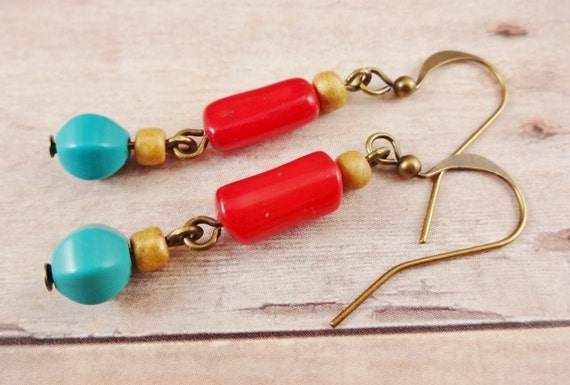 Rustic Boho Red Coral, Turquoise and Glass Earrings