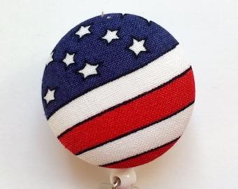 American Flag Badge Reel - Badge Reel - USA Badge Reel - Stars and Stripes Badge Reel - Retractable ID Reel - Nurse Gift - Fabric Badge Reel
