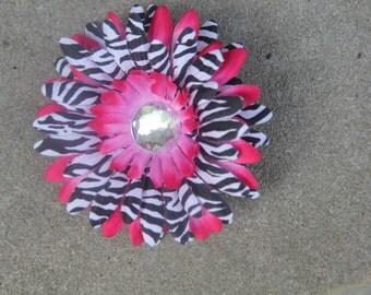 Pink Zebra Flower Clip