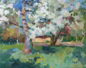 My apple garden in bloom. Oil landscape. Original oil painting, painted from life.