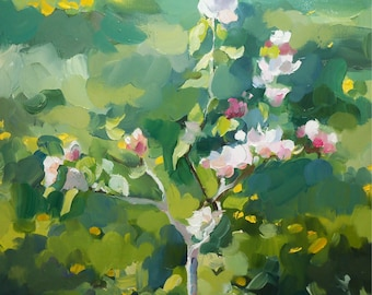 Young apple tree. Oil landscape. Original oil painting, painted from life.