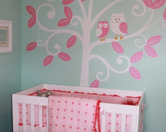 Wall Decal Baby Nursery Decor - Owls and Swirly Tree - Nursery Kids Wall Decal