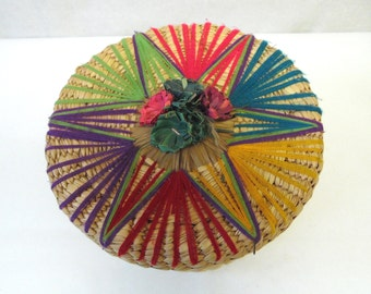 Lidded Basket Decorative Natural Fiber Flower