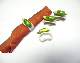 Ear Of Corn Napkin Ring White Glass Set of 4