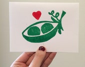Two Peas in a Pod Linocut Card